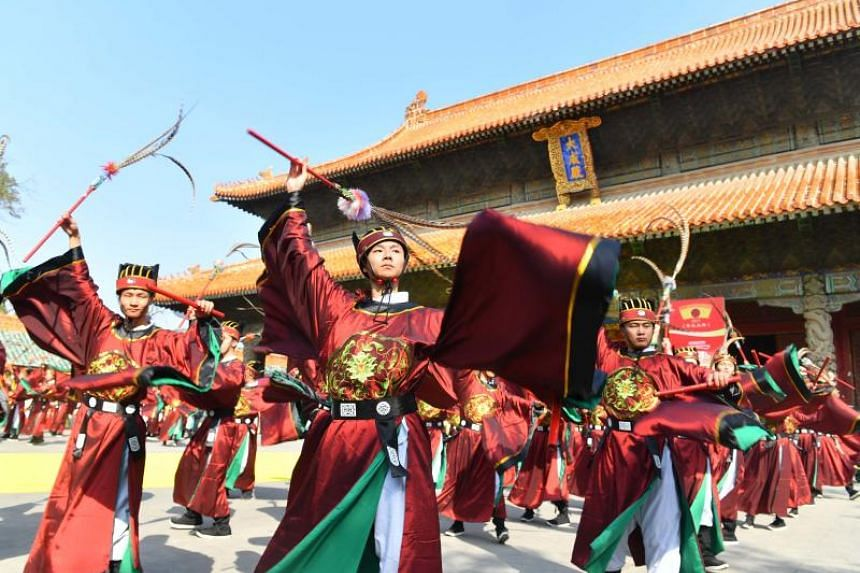 Dancers performing a ritual dance in honour of Confucius in Qufu, on Sept 28, 2017.