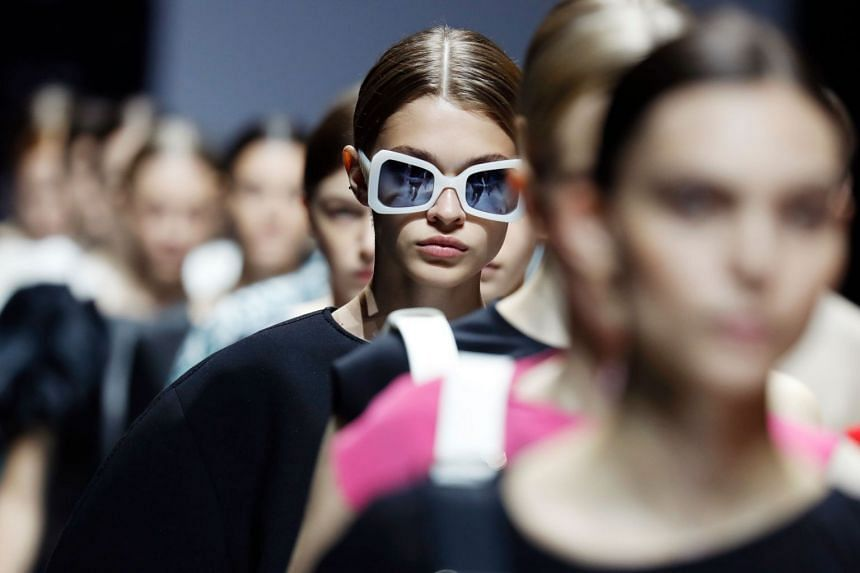 Models present creations for Lanvin during the women's 2018 Spring/Summer ready-to-wear show.