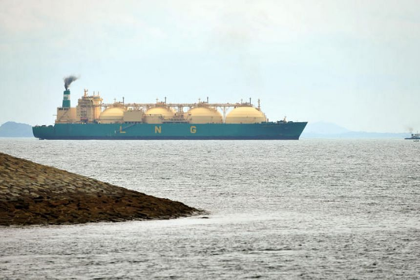 A liquified natural gas tanker off the Southern coast of Singapore.
