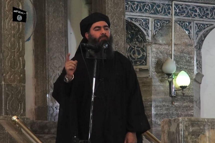 An image grab from video said to show Abu Bakr al-Baghdadi.