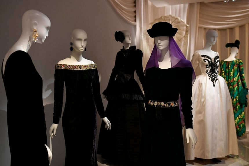 Designs displayed at the new Yves Saint Laurent museum in Paris.