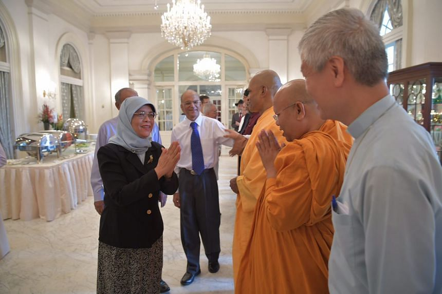 President Halimah Yacob met about 25 members of the Inter-Religious Organisation (IRO) over a buffet brunch at the Istana's Reception Room, where she expressed her support for their work.