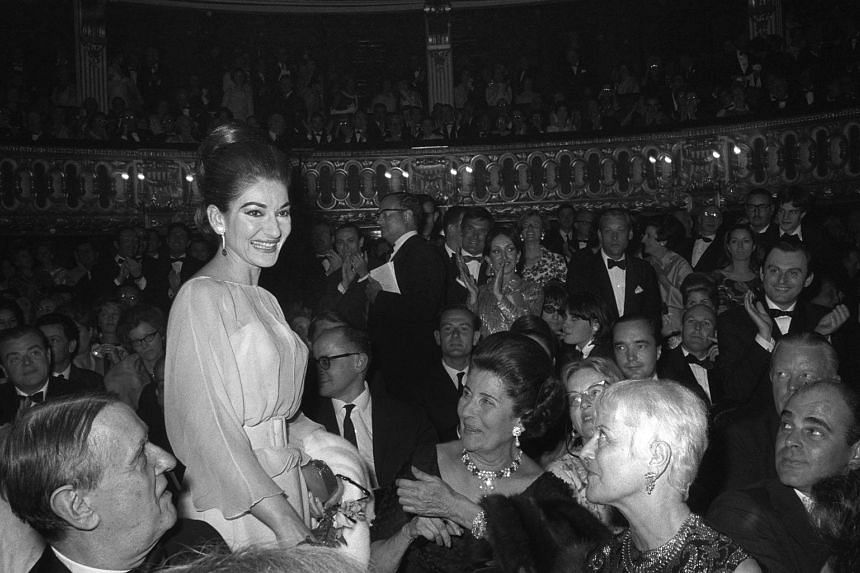 A file picture taken on Jan 5, 1966 of US Greek-singer soprano Maria Callas during the premiere of The Barber of Seville at the Odeon theater in Paris.