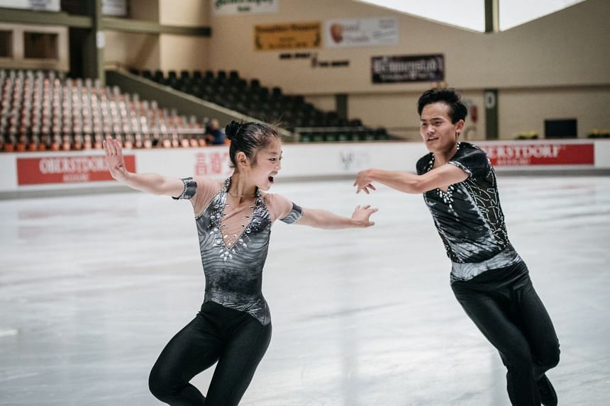 The figure skaters Ryom Tae-ok (left) and Kim Ju-sik of North Korea train ahead of a competition in Oberstdorf, Germany, on Sept 27, 2017. The pair finished 15th at the 2017 world championships and are seeking to become the first North Koreans to qua