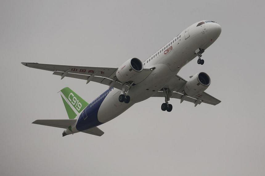 China's home-grown C919 passenger jet takes off on its first flight at Pudong International Airport in Shanghai, China on May 5, 2017.