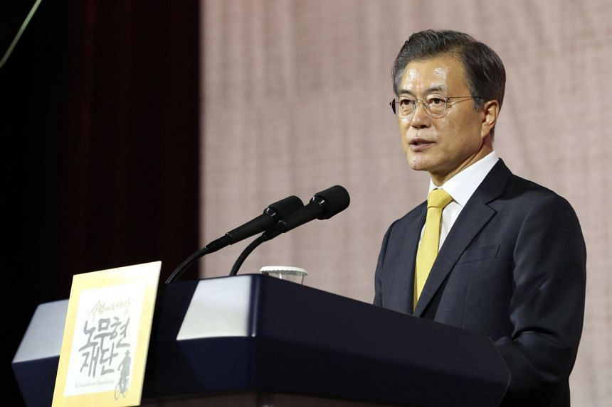 South Korean President Moon Jae In makes a speech at the 10th anniversary of an inter-Korean summit in Seoul, South Korea, on Sept 26, 2017.