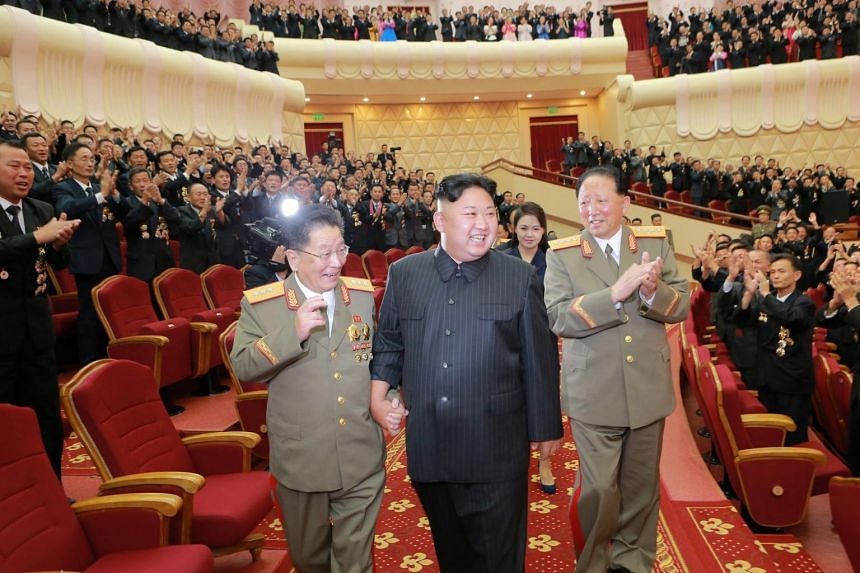 North Korean leader Kim Jong Un at a celebration for nuclear scientists and engineers who contributed to a hydrogen bomb test in Pyongyang on Sept 10, 2017.