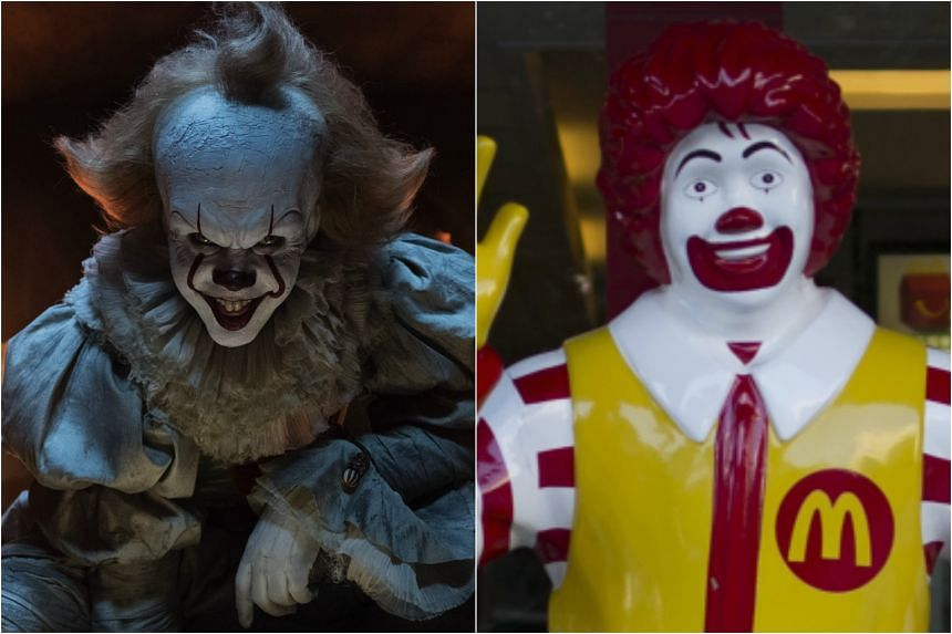 Pennywise (left) from Stephen King's It, and Ronald McDonald, mascot of McDonald's.