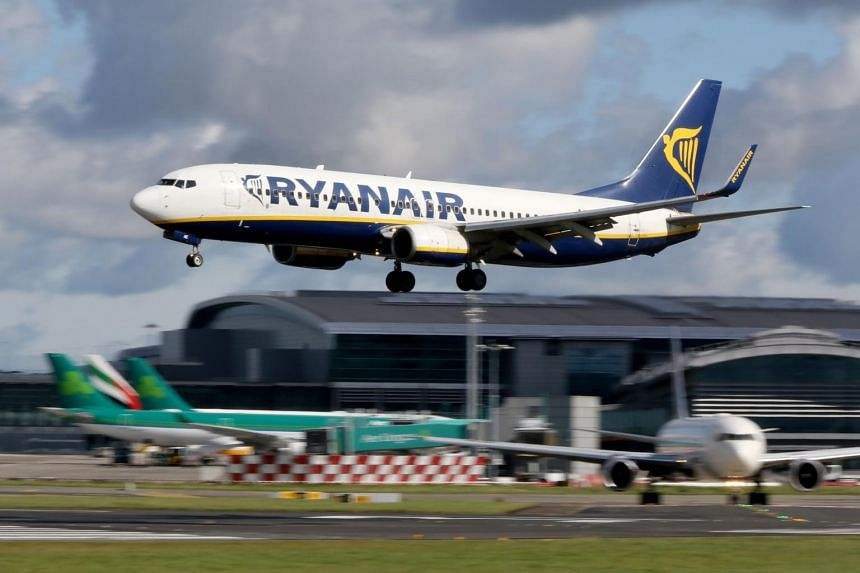 A Ryanair plane taking off from Dublin Airport on Sept 21, 2017.