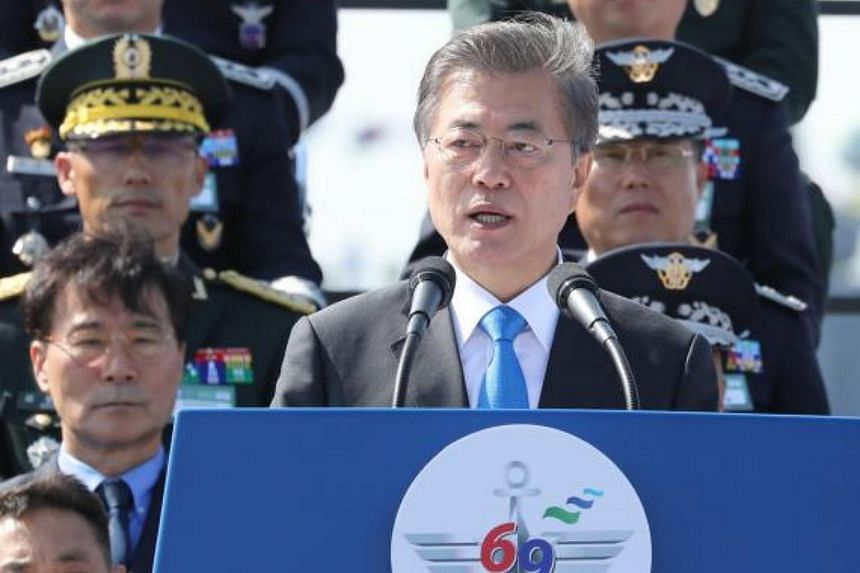 South Korean President Moon Jae In  said in a speech to celebrate the 69th anniversary of Armed Forces Day that the government aimed to regain the wartime command of South Korean forces early from Washington.