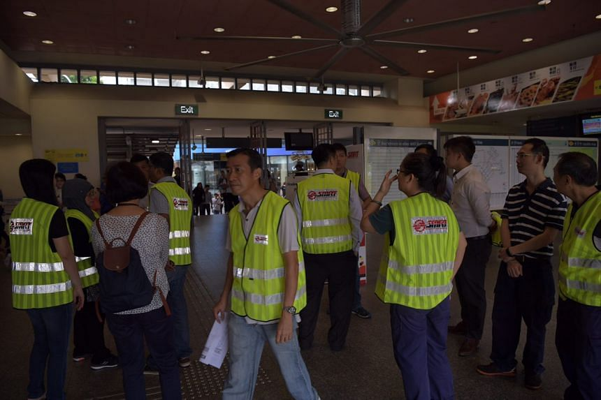 SMRT staff at Pasir Ris station on the morning of Sept 28, 2017.