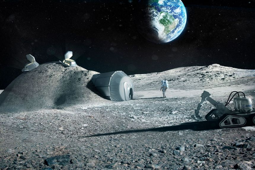 An artist's impression released by the European Space Agency shows a lunar base made with 3-D printing.