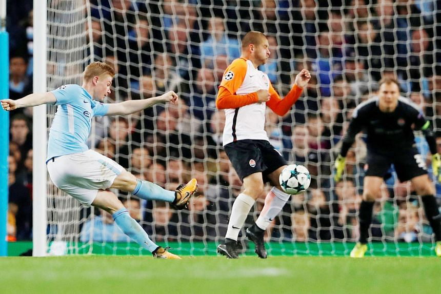 Midfielder Kevin de Bruyne strikes in the 48th minute to put City into the lead in their Champions League game against Shakhtar on Tuesday. Team-mate Sergio Aguero missed a penalty but Raheem Sterling sealed the win.