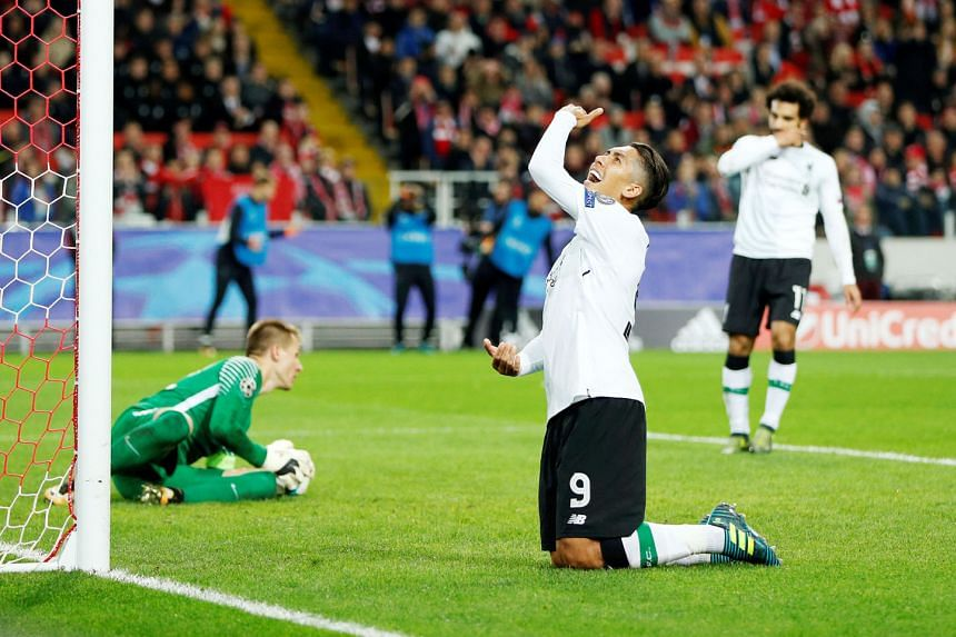 Liverpool forward Roberto Firmino ruing a missed chance against Spartak Moscow in the Champions League on Tuesday. The English Premier League side had 64 per cent of the ball in Moscow and took 16 shots - six were on target - but netted just once. Th