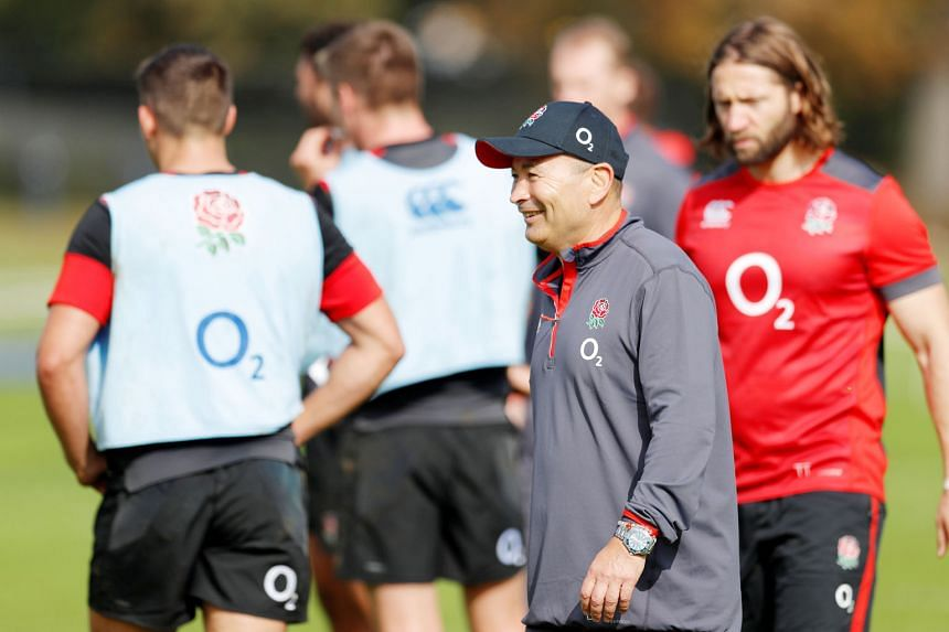 England rugby coach Eddie Jones working with his squad during training. The Australian has masterminded England's rise up the world rankings to second, behind world champions the All Blacks and they have their eye on the 2019 World Cup in Japan.