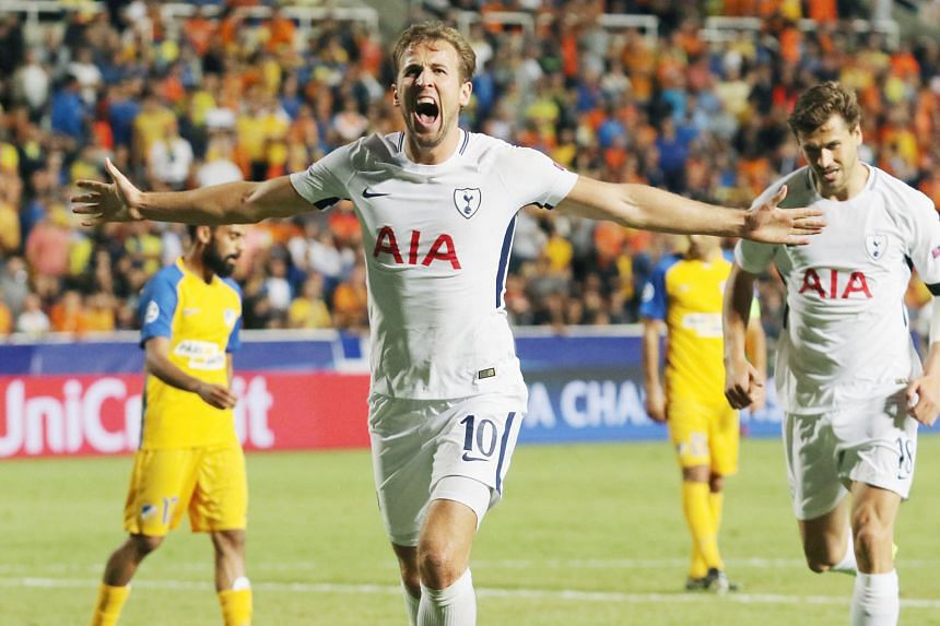 Tottenham striker Harry Kane celebrating his hat-trick against Cypriot side Apoel Nicosia. He has been in a purple patch of form since the start of September.