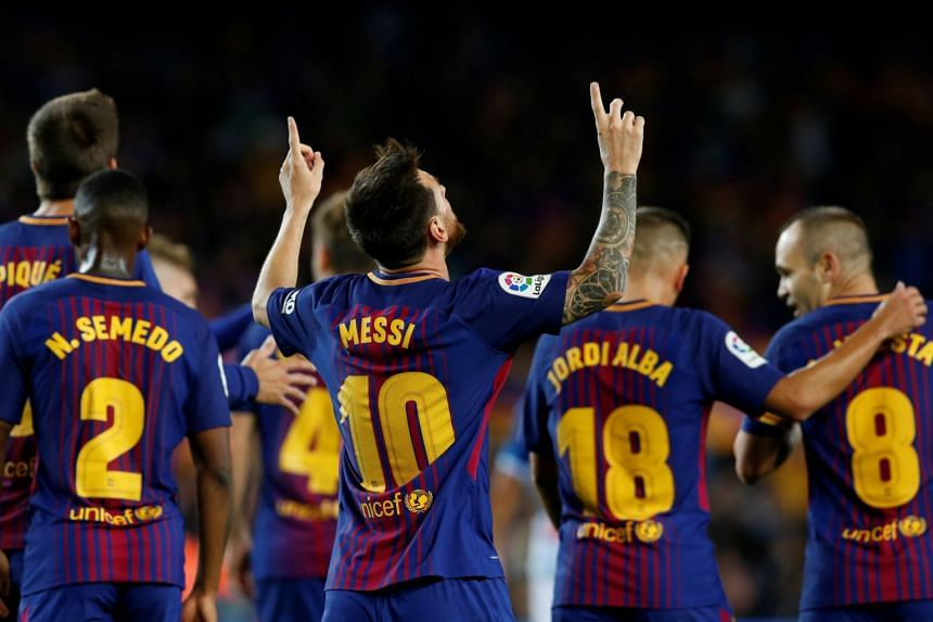 Barcelona's Lionel Messi celebrates a goal.