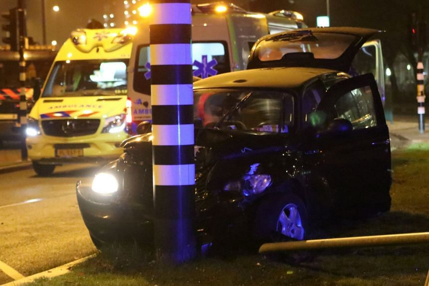 The damaged car believed to have been carrying Manchester City's Argentine striker Sergio Aguero.