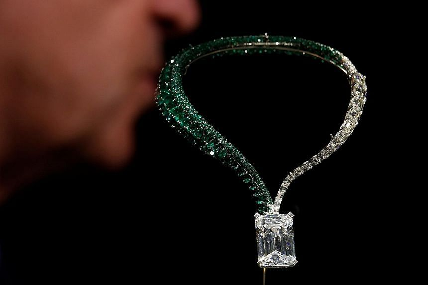 """A 163.41-carat, D colour, flawless diamond dangles tantalisingly from a necklace at auction house Christie's in Hong Kong. The IIA-type white diamond is being presented by Swiss luxury jeweller de Grisogono ahead of the auction season in Geneva. """"The"""