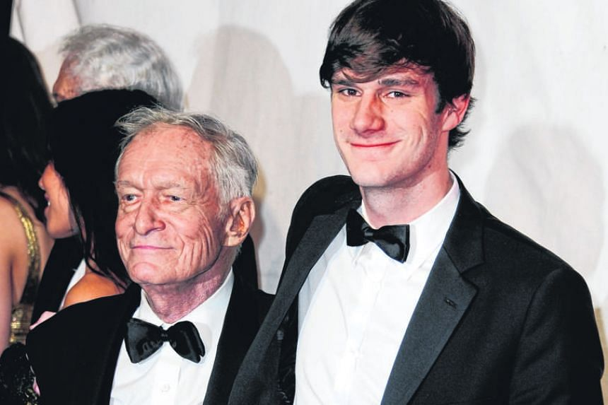 (Clockwise from top) Hugh Hefner at the Playboy Club London Gala Opening Event in 2011; with his son Cooper in 2012; and with his wife Crystal Harris in 2012.