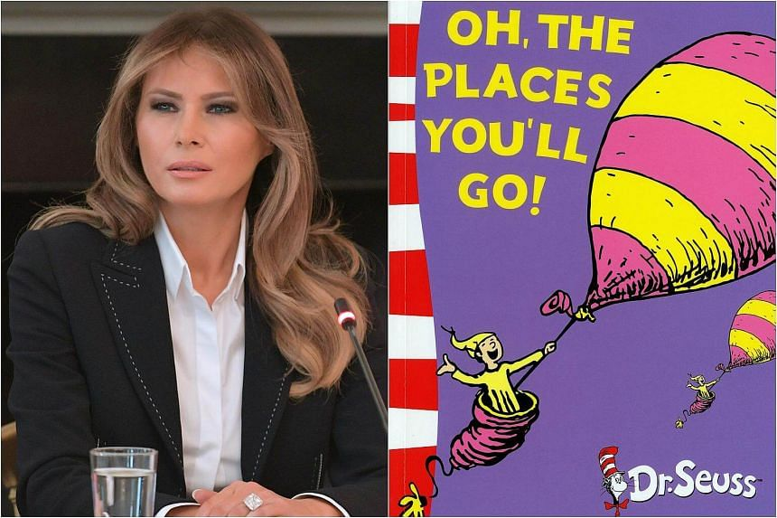 Mrs Trump, who is increasingly carving out a public profile for herself, chose ten Dr Seuss titles to send to an elementary school in Cambridge, Massachusetts, in celebration of National Read a Book Day.