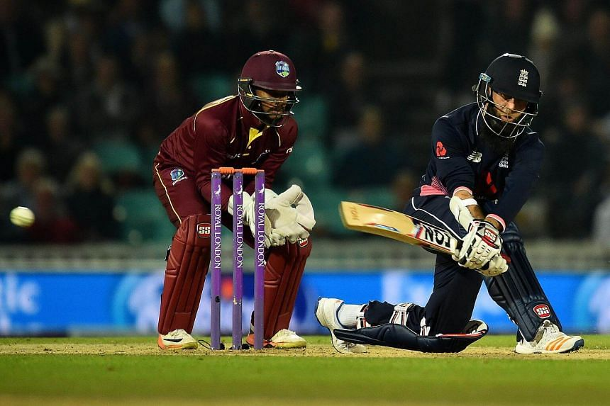 England's Moeen Ali plays a shot during the fourth One-Day International (ODI) cricket match between England and the West Indies at the Oval in London, on Sept 27, 2017.