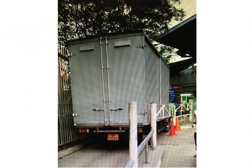 The lorry drove into a motorcycle lane on Friday (Sept 29) morning.