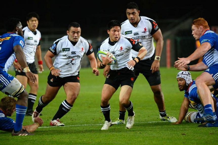 Sunwolves' Kaito Shigeno runs with the ball during the Super Rugby match against South Africa's Stormers at Newlands Stadium in Cape Town on July 8, 2017.