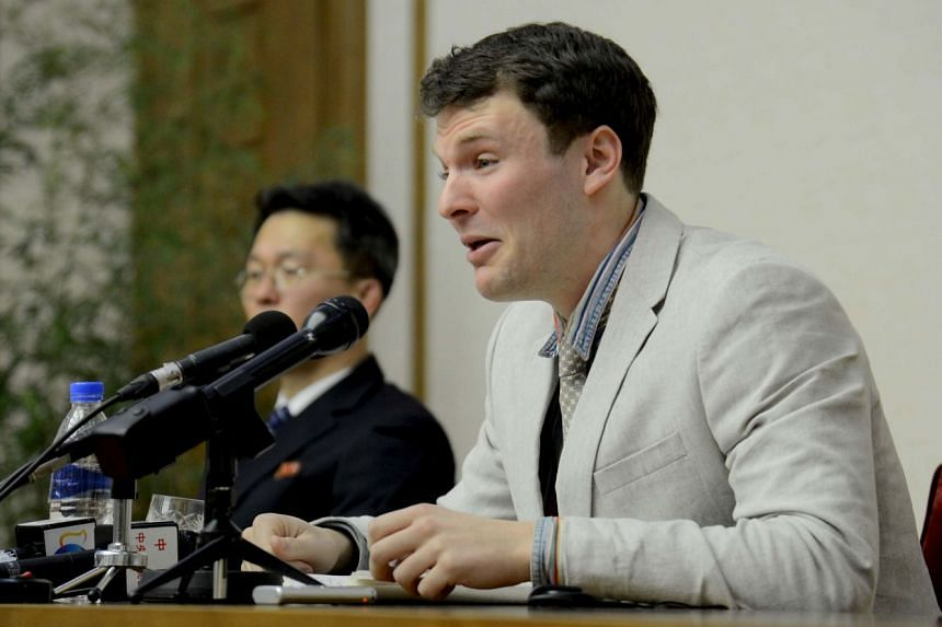 US student Otto Warmbier speaks at a news conference in this undated photo released by North Korea's Korean Central News Agency (KCNA) in Pyongyang, on Feb 29, 2016.