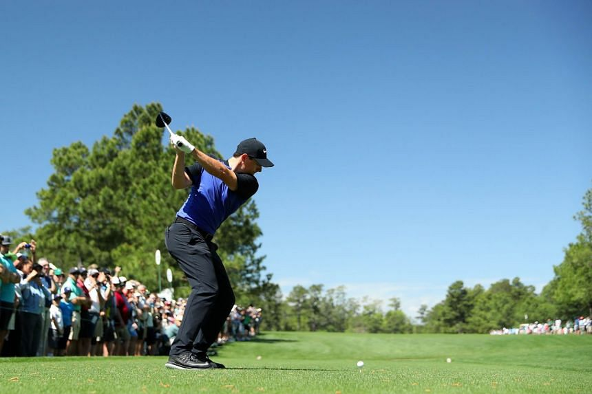 Rory McIlroy of Northern Ireland plays a shot on the 15th tee during a practice round prior to the start of the 2017 Masters Tournament at Augusta National Golf Club in Augusta, Georgia, on April 4, 2017.