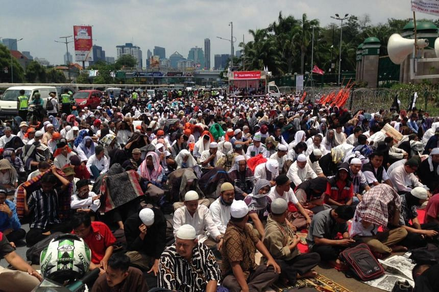 The turnout was small by Indonesian standards and far lower than expected, with the hardline Islamic Defenders' Front (FPI) being the largest group in the crowd.