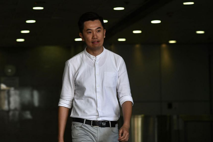Local lawmaker Cheng Chung Tai leaves the Eastern Magistrates Court in Hong Kong on Sept 29, 2017.