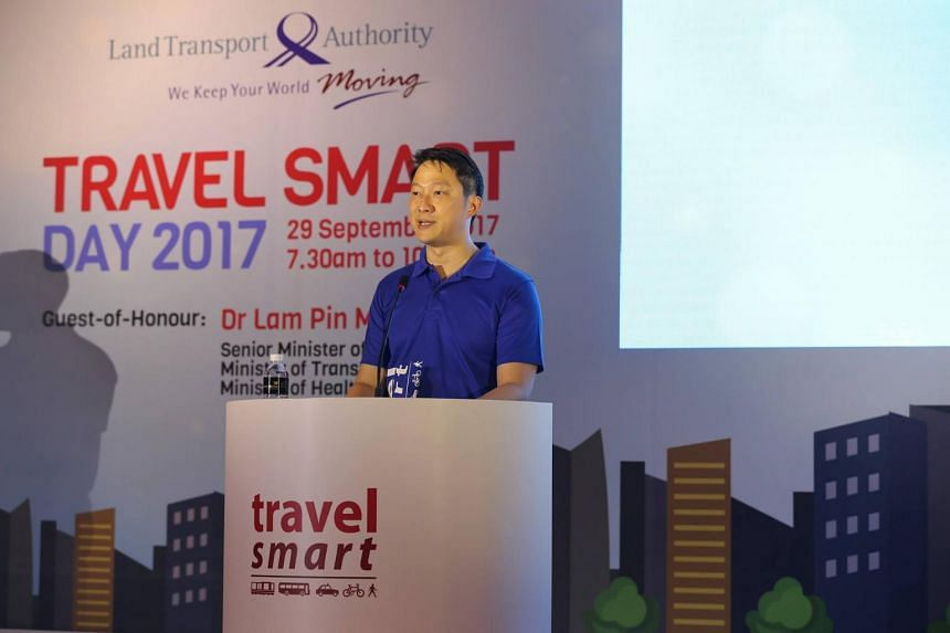 Senior Minister of State for Transport Lam Pin Min speaking at the LTA Travel Smart Day 2017 event on Sept 29, 2017.