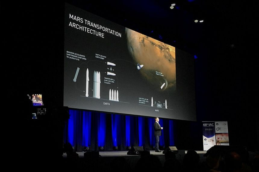 Elon Musk, founder and Chief Executive Officer (CEO) and lead designer of SpaceX, speaks during a media conference at the International Astronautical Congress (IAC) in Adelaide, Australia on Sept 29, 2017.