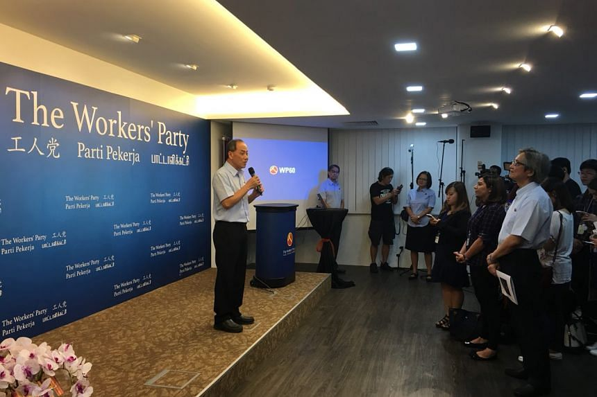 Workers' Party (WP) chief Low Thia Khiang speaking during the opening of WP's headquarters, which coincides with its 60th anniversary.