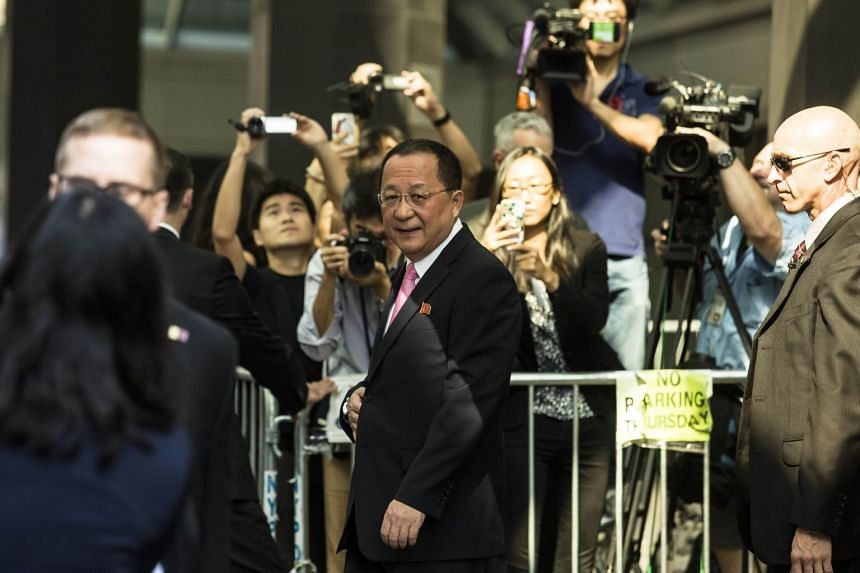 North Korea's Foreign Minister Ri Yong Ho departs after speaking to reporters at the UN Millenium Plaza hotel on Sept 25, 2017 in New York City.