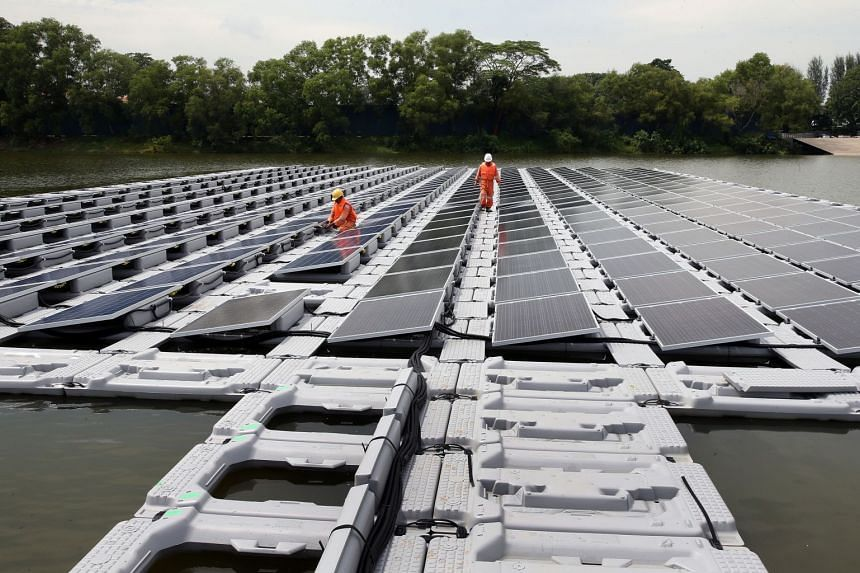The world's largest floating solar photovoltaic cell test-bed in the Tengeh Reservoir in Tuas is the size of about 100 five-room Housing Board flats.