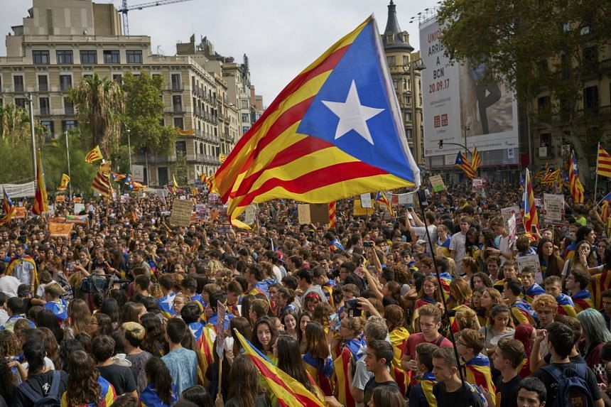 A demonstration led by students in support of the independence referendum for Catalonia in Barcelona, Spain, Sept 28, 2017.