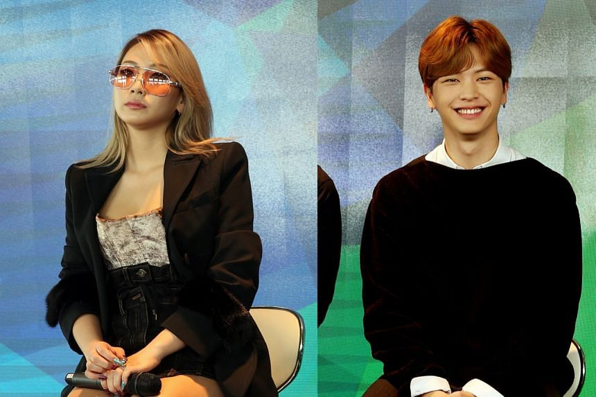 South Korean celebrities CL (left) and Yook Sung Jae were in Singapore yesterday for Ion Orchard's eighth anniversary celebrations.