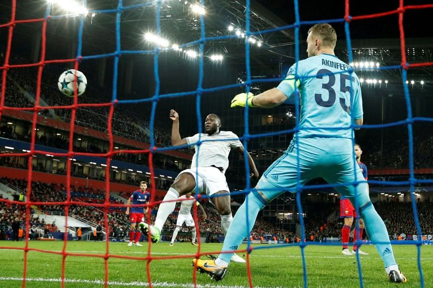 Manchester united striker Romelu Lukaku lashing past CSKA Moscow 'keeper Igor Akinfeev in the 27th minute. The Belgian hotshot has already notched 10 goals in just nine games