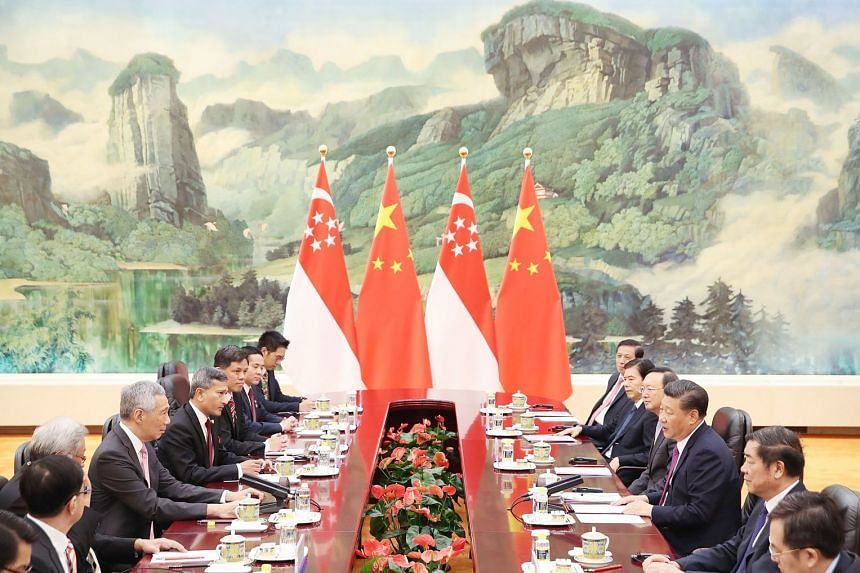 Prime Minister Lee Hsien Loong and Chinese President Xi Jinping at a meeting between the Singapore and Chinese delegations during PM Lee's official visit to Beijing last week. With China's progress, the dynamics of the bilateral relationship has chan