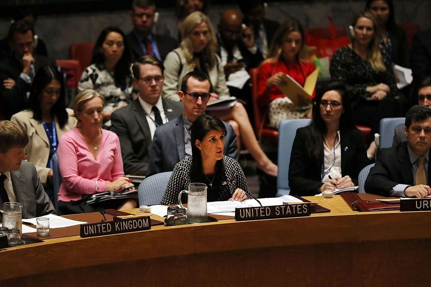 Nikki Haley addresses a UN Security Council meeting about the ongoing violence in Myanmar against Rohingya Muslims.