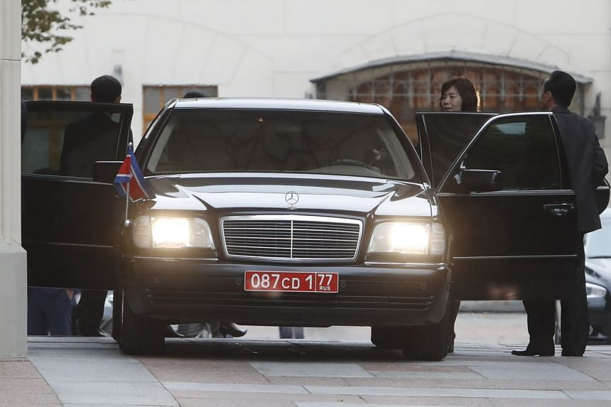 Members of the North Korean delegation leave after talks at the Russian foreign ministry venue in Moscow.