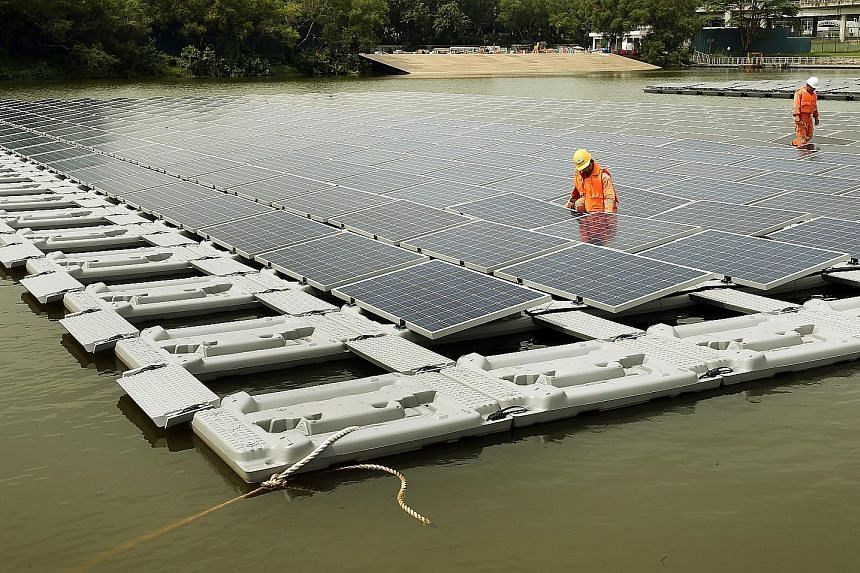 The floating solar PV system test bed launched at Tengeh Reservoir last October. It has been shown to perform better than its rooftop counterparts, because of cooler temperatures in its surrounding environment.