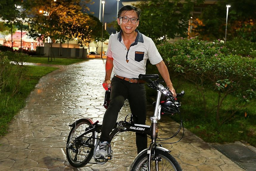 Mr Colin Quek cycles to work occasionally from his Sengkang home, but would do so more often if his office in Changi Business Park had more shower and bicycle storage facilities.