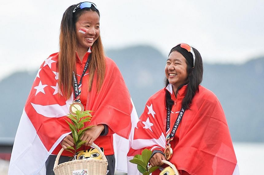 Three months before the SEA Games, in which Cheryl Teo (far left) and Yukie Yokoyama won the 470 gold, both had decided to put their studies on hold to help their quest for a medal at the 2018 Asian Games in Indonesia.