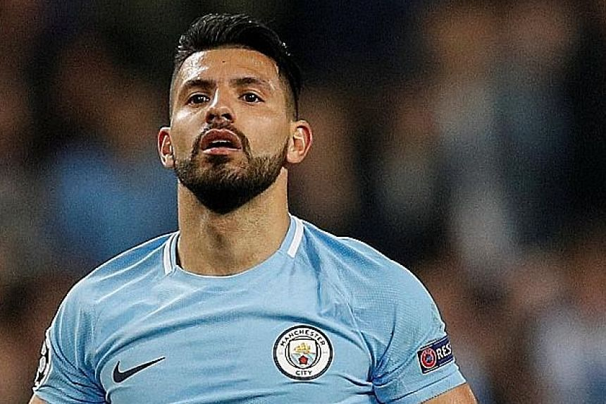 Manchester City striker Sergio Aguero (right) says he broke his rib after the taxi he was in crashed into a lamp-post in Amsterdam. Defender Benjamin Mendy (bottom right) was to undergo surgery on his ACL yesterday.