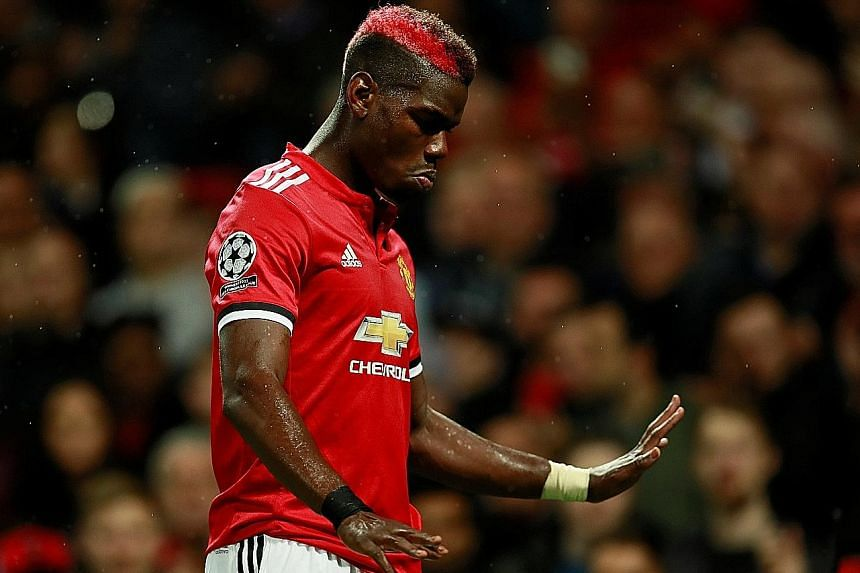 Manchester United midfielder Paul Pogba walking off as he is substituted for Marouane Fellaini during a Champions League match against Basel last month. United beat Basel 3-0 and have won their next four matches.