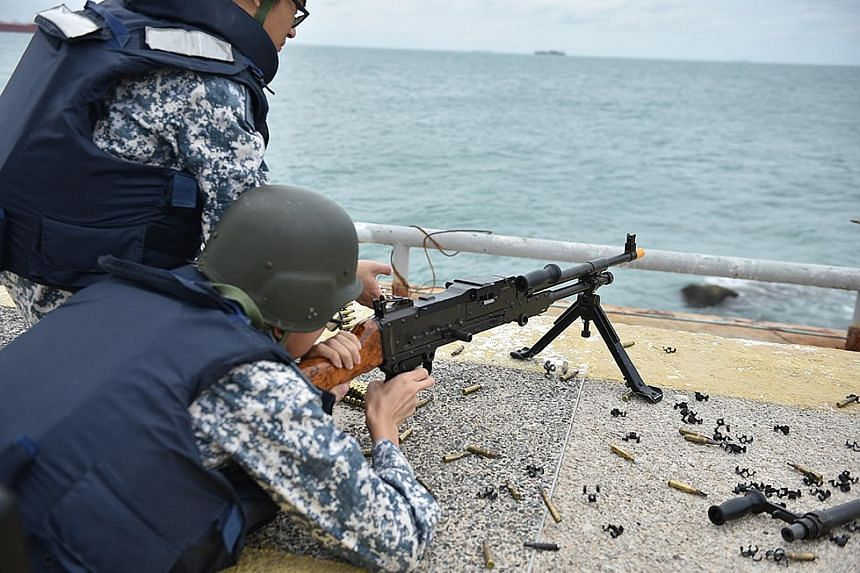 The exercise on Pedra Branca was conducted last month. It included a simulated scenario involving an armed civilian intruder, with the RSN and police intercepting and taking down the threat.