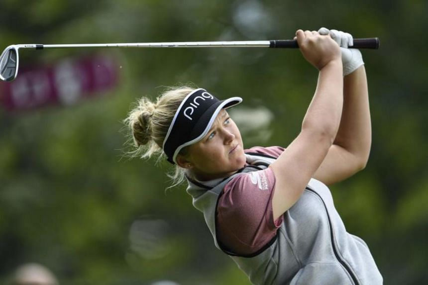 Brooke Henderson during the Evian Championship in the French Alps town of Evian-les-Bains, on Sept 16, 2016.